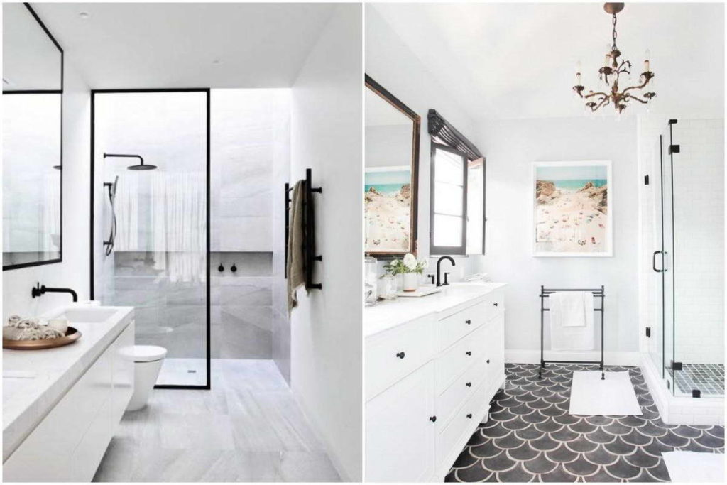 Classic bathroom fitting and tiling in white