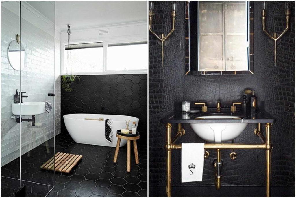 Monochrome bathroom fitting in black