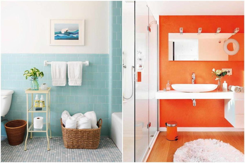 One-colour bathroom fitting in bright colours